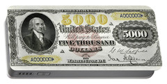 Portable Battery Charger featuring the digital art U.s. Five Thousand Dollar Bill - 1878 $5000 Usd Treasury Note  by Serge Averbukh