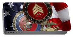 U. S. Marines Sergeant - U S M C Sgt Rank Insignia Over American Flag Portable Battery Charger