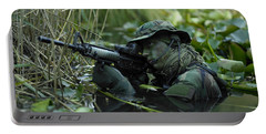U.s. Navy Seal Crosses Through A Stream Portable Battery Charger