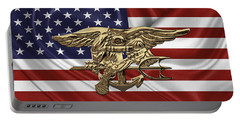 U.s. Navy Seals Trident Over U.s. Flag Portable Battery Charger