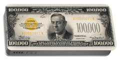 Portable Battery Charger featuring the digital art U.s. One Hundred Thousand Dollar Bill - 1934 $100000 Usd Treasury Note  by Serge Averbukh