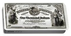 Portable Battery Charger featuring the digital art U.s. One Thousand Dollar Bill - 1863 $1000 Usd Treasury Note by Serge Averbukh