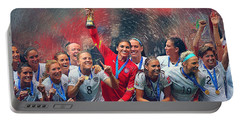 Us Women's Soccer Portable Battery Charger by Semih Yurdabak