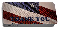 Portable Battery Charger featuring the photograph Usa Military Veterans Patriotic Flag Thank You by Shelley Neff