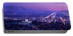 Usa, Utah, Salt Lake City, Aerial, Night Portable Battery Charger