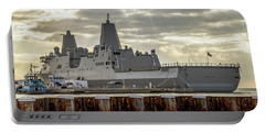 Portable Battery Charger featuring the photograph Uss Portland From The Port Side by Bob Slitzan