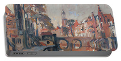 Portable Battery Charger featuring the painting Utrecht Autumn Canal by Nop Briex