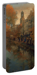 Portable Battery Charger featuring the painting Utrecht In Autumn by Nop Briex