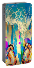 Portable Battery Charger featuring the painting Vacation Time by Tithi Luadthong