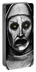 Portable Battery Charger featuring the digital art Valak The Demon Nun by Taylan Apukovska