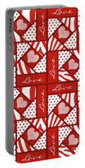Portable Battery Charger featuring the digital art Valentine 4 Square Quilt Block by Methune Hively