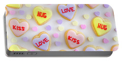 Portable Battery Charger featuring the photograph Valentine Heart Cookies by Teri Virbickis