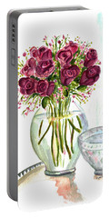 Valentines Crystal Rose Portable Battery Charger by Clara Sue Beym