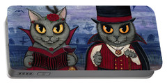 Vampire Cat Couple Portable Battery Charger by Carrie Hawks