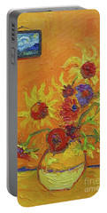 Portable Battery Charger featuring the painting Van Gogh Starry Night Sunflowers Inspired Modern Impressionist by Patricia Awapara