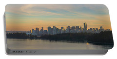Vancouver Bc Skyline Along Stanley Park At Sunset Portable Battery Charger