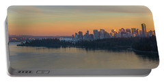 Vancouver Bc Skyline And Stanley Park At Sunset Portable Battery Charger