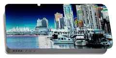 Vancouver Harbor Moonrise  Portable Battery Charger