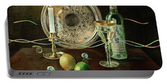 Vanitas Still Life By Candlelight With Les Bourgeois Wine Portable Battery Charger