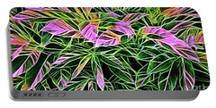 Variegated Leaves Pink And Green Portable Battery Charger by Linda Phelps