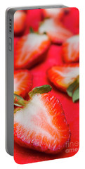 Various Sliced Strawberries Close Up Portable Battery Charger