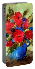 Vase Of Delight-still Life Painting By V.kelly Portable Battery Charger