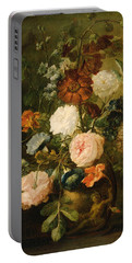 Portable Battery Charger featuring the painting Vase Of Flowers by Follower of Jan van Huysum