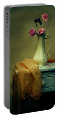 Vase Of Pink Roses Portable Battery Charger