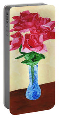 Portable Battery Charger featuring the painting Vase Of Red Roses by Rodney Campbell