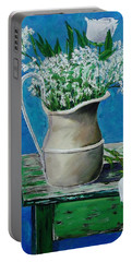 Vase On Table With Flowers Portable Battery Charger
