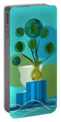 Vase With Bouquet Over Blue Portable Battery Charger