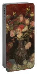Vase With Chinese Asters And Gladioli Portable Battery Charger