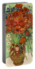 Portable Battery Charger featuring the painting Vase With Daisies And Poppies by Van Gogh