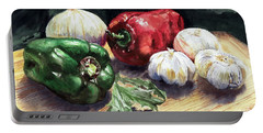 Portable Battery Charger featuring the painting Vegetable Golly Wow by Joey Agbayani