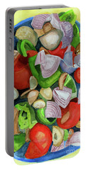 Portable Battery Charger featuring the painting Veggies by Sandy McIntire