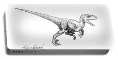 Velociraptor - Dinosaur Black And White Ink Drawing Portable Battery Charger by Karen Whitworth