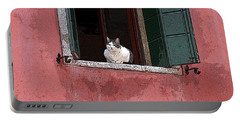 Venetian Cat In Window Portable Battery Charger