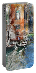 Venetian Gondolier In Venice Italy Portable Battery Charger