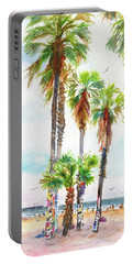 Portable Battery Charger featuring the painting Venice Beach California Graffiti Palm Trees by Carlin Blahnik CarlinArtWatercolor