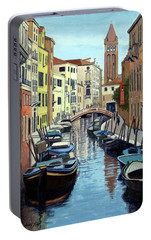 Portable Battery Charger featuring the painting Venice Canal Reflections by Janet King