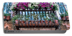 Portable Battery Charger featuring the photograph Venice Flower Balcony by Allen Beatty