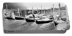 Portable Battery Charger featuring the photograph Venice Gondolas Silver by Rebecca Margraf