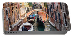 Venice Gondolier Portable Battery Charger by Frozen in Time Fine Art Photography