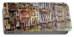 Portable Battery Charger featuring the painting Venice Impression II by Xueling Zou