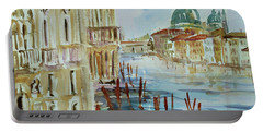 Portable Battery Charger featuring the painting Venice Impression IIi by Xueling Zou