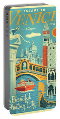 Venice Poster - Retro Travel  Portable Battery Charger