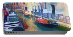 Portable Battery Charger featuring the photograph Venice Sidewalk Cafe by Roberta Byram