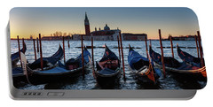 Venice Sunrise With Gondolas Portable Battery Charger