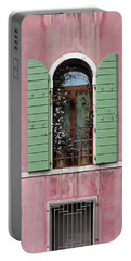 Venice Window In Pink And Green Portable Battery Charger by Brooke T Ryan