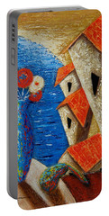 Portable Battery Charger featuring the painting Ventana Al Mar by Oscar Ortiz